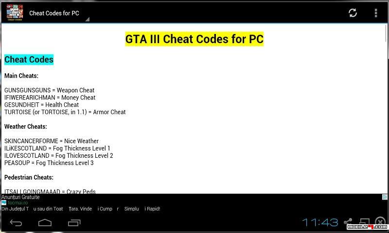 Gta Iii Cheat Codes 2015