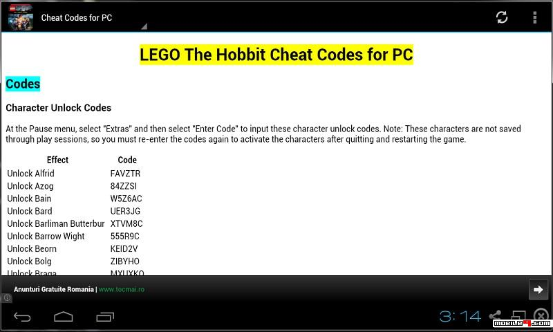 Lego The Hobbit Cheat Codes