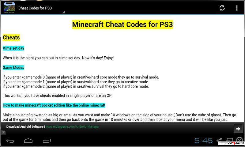 Minecraft Cheat Codes 2015