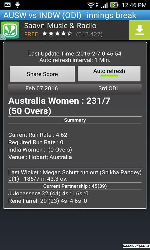 Cricket Score Update